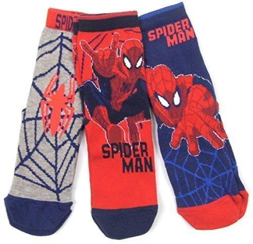 Boys Spider-man Socks Three Pk Socks Size 12.5-3.5 (eu 31-36) 4-7 (eu 37-39) (12.5-3.5)