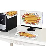 Miki Da dust Cover Computer case 27'' Monitor Set Background of Stylized Autumn Leaves for Greeting Cards 5