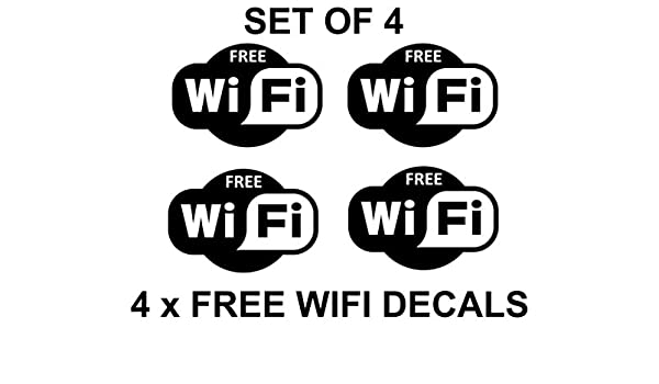 4 x Free Wifi Cartel Símbolos Adhesivos Internet Café Bar ...