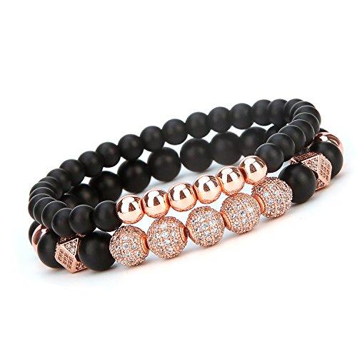 Zhepin 8mm and Charm Bracelet for Men Women Black Matte Onyx Stone Beads, 7.5