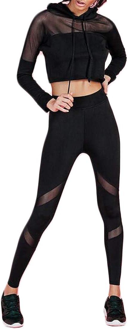 Inlefen Abbigliamento da Yoga per Donna Completo di Scollatura di Garza Ritaglio Senza Spalle Top Pantaloni Sportivi Neri Aderenti Completo da Due Pezzi