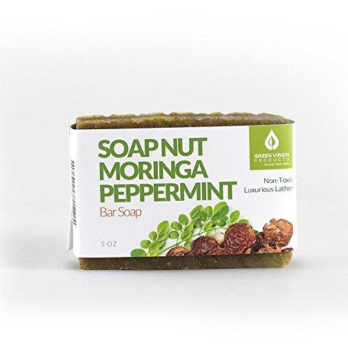 Soap Nut, Moringa, Peppermint, Bar Soap, Green Virgin (Non Toxic Soap)