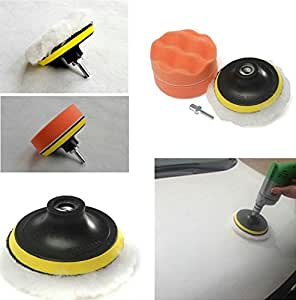 """BaiFM 3"""" Buffing Sponge Compound-Polishing-Auto Pad Kit with Drilling Adapter M10 For Car Auto Polisher 6pcs"""