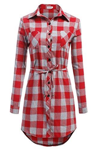 Noir HOTOUCH Longues Rouge Manches Longue Haut Carreaux Chic XL Blanc Beige Top Chemisier Rouge Femme Gris S Chemise Bleu rv8wgqrz