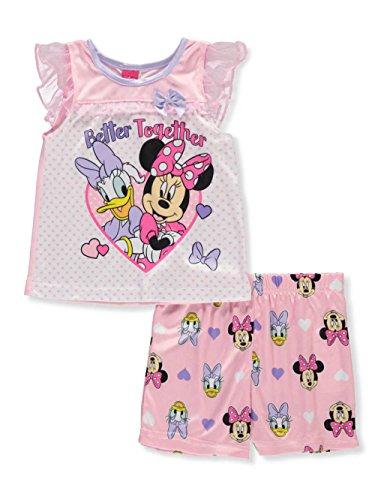 Disney Minnie Mouse Little Girls' Toddler 2-Piece Pajamas - Pink/Multi, 3t Satin Girls Pajamas