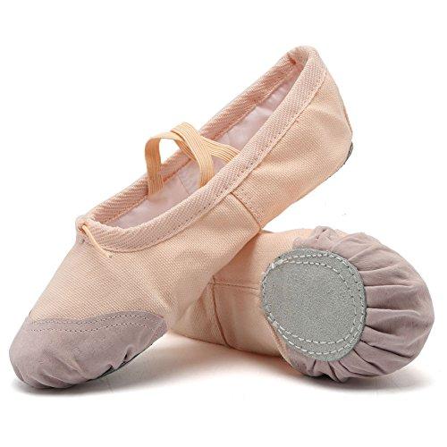 CIOR Ballet Slippers For Girls Classic Split-Sole Canvas Dance Gymnastics Yoga Shoes Flats(Toddler/Little Kid/Big Kid),VTW01,Skin,28 (Girl Ballet Shoes)