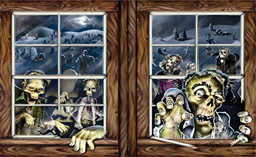 UHC Zombie Attack Insta-View Backdrop Horror Party Supplies Halloween - Halloween Costumes Specialty