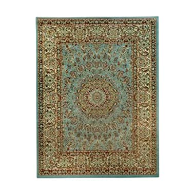 Medallion Traditional Ocean Blue 5'3  x 6'11  Area Rug Maxy Home Pasha Collection PAS4516