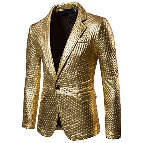 Gold A Blazer Uomo Da Lungo Farbe Con Pulsante Giacca Essenziale Abito Maniche Elegante Slim Fit Lunghe w06aH6
