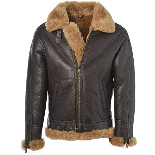 Men's Pilot Aviator B3 WWII Bomber Faux Fur Shearling Genuine Leather Jacket. Black