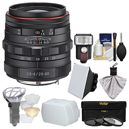Pentax HD DA 20-40mm f/2.8-4 ED Limited DC WR Zoom Lens with 3 UV/CPL/ND8 Filters + Flash + Soft Box + Diffuser + Kit