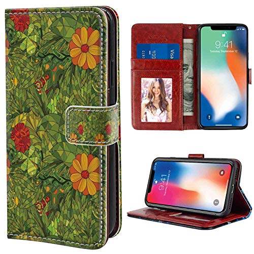 - iPhone X, iPhone 10, iPhone Xs Wallet Case, Floral Funky Flower Foliage Bush with Fractal Retro Jungle Art Design Vermilion Marigold Olive Gre PU Leather Folio Case with Card Holder and ID Coin Slot