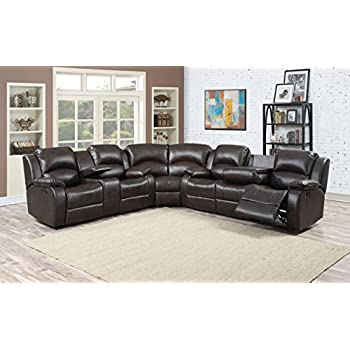 Christies Home Living Samara Dark Sectional with 4 Recliners Sofa Loveseat Set Brown  sc 1 st  Amazon.com : recliners sofa - islam-shia.org