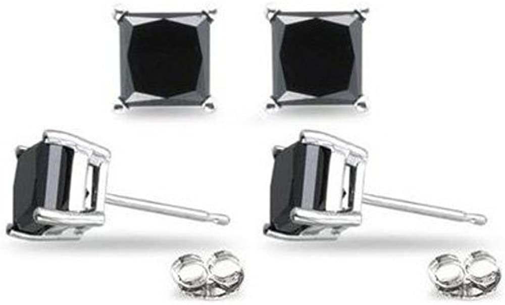 4.00 Carat Total Weight Black Cubic Zirconia 925 Sterling Silver Earrings