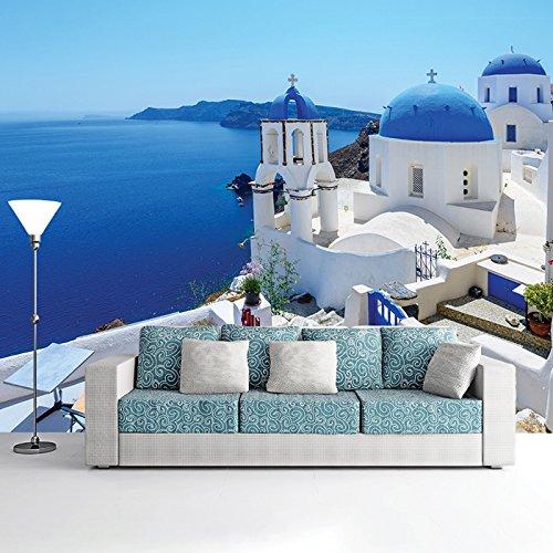 (White Building, Blue Sea Santorini Greece Wall Mural Travel Photo Wallpaper available in 8 Sizes Gigantic Digital )
