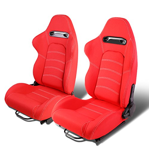 Set of 2 Universal Double Stitch Type-R Woven Fabric Reclinable Racing Seats w/Sliders (Red)