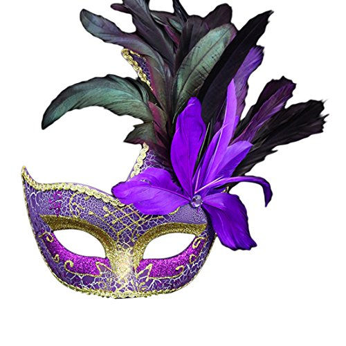 [Mossey Halloween Christmas Gift Venetian Dancing Queen Mask Masquerade Feather Mask (Purple)] (Purple Feather Mask)