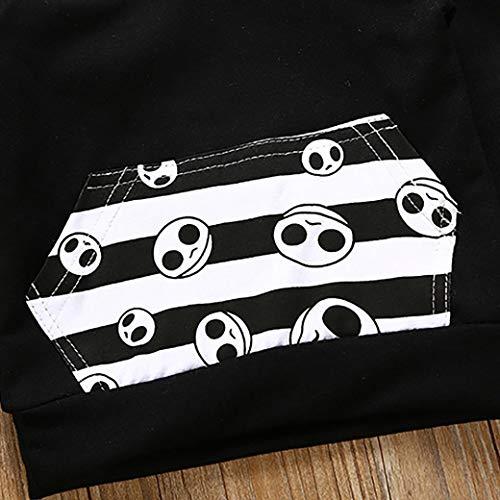 Manica Camicetta Costume Neonato pantaloni Ragazzo lunga Halloween Pullover Felpa Maglietta Felpa T Shirt con Estate Top Bambini Nero BYSTE cappuccio Camicie SH0fy