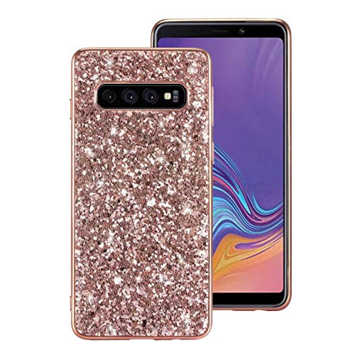 Galaxy S10 Plus Case, Ranyi Full Body Glitter Shiny Sparkle Bling Rhinestone Design Slim Fit Flexible Electroplated TPU Bumper Shock Absorbing Rubber Case For Samsung Galaxy S10 Plus (2019), rose gold ()