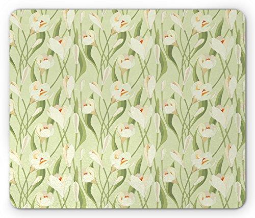 Ambesonne Garden Art Mouse Pad, Spring Flowers Bouquet Crocuses with Healthy Fresh Petals Botanical, Standard Size Rectangle Non-Slip Rubber Mousepad, Pale Green Cream Orange (Cream Crocus)