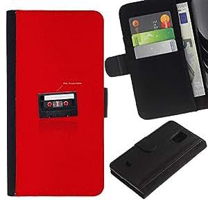 LECELL--Cuero de la tarjeta la carpeta del tirón Smartphone Slots Protección Holder For Samsung Galaxy S5 Mini, SM-G800 -- Divertido soy tu Padre Cassette --
