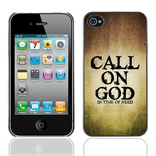 DREAMCASE Citation de Bible Coque de Protection Image Rigide Etui solide Housse T¨¦l¨¦phone Case Pour APPLE IPHONE 4 / 4S - CALL ON GOD