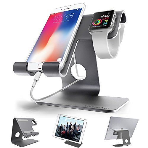 ZVE Universal 2 in 1 Aluminium Desktop Charging Stand for iWatch, Smartphone and Tablets Up to 12.9-Inch - Space Grey Stand with 42MM case