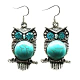 Aprilsky Jewelry Cute Owl Shape Round Rimous Tibetan Silver Turquoise Stainless Steel Hooks Earrings