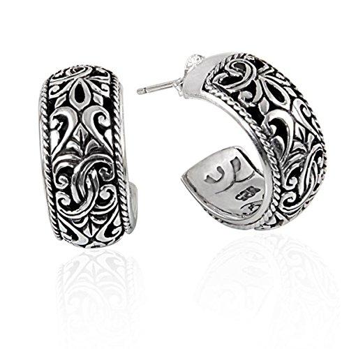 Bali Sterling Silver Fashion Earrings - Bali Designs Sterling Silver Hoop Earring With Plain Silver AE-1020-S