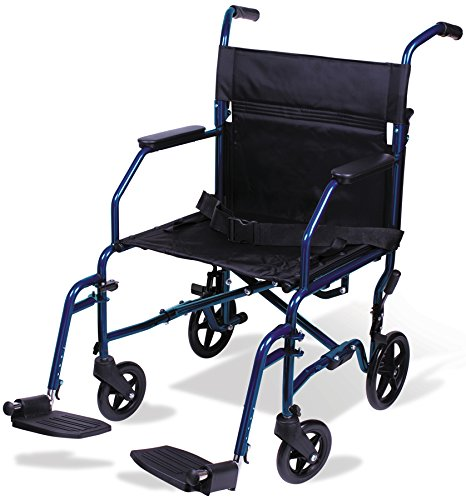 Carex Transport Wheelchair - 19 inch Seat - Folding Transport Chair with Foot Rests - Foldable Wheel Chair for Travel and Storage