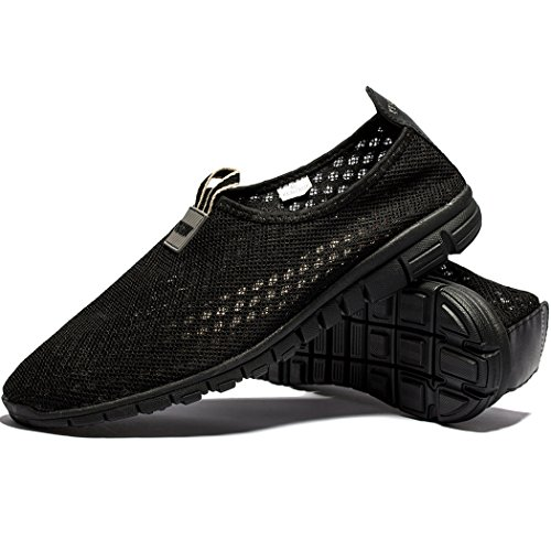 Men & Women Breathable Mesh Running Sport Tennis Outdoor Shoes,Beach Aqua,Athletic,Exercise,Slip Wave EU41 Allblack by KENSBUY (Image #6)