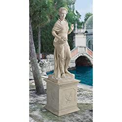 Design Toscano NE990057 The Four Goddesses of the Seasons Statue Spring with Plinth, Ancient Ivory