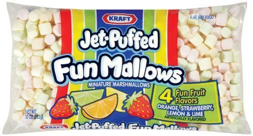 Kraft, Jet-Puffed, Fun Mallows, Fruity Flavors, 10oz Bag (Pack of 4) by Jet-Puffed