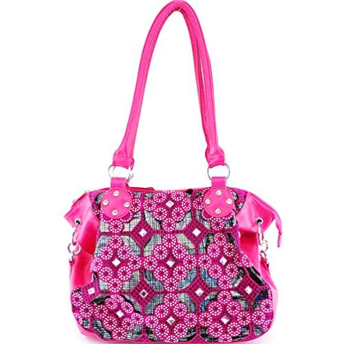 1803 Rhinestone Floral Shoulder Bag