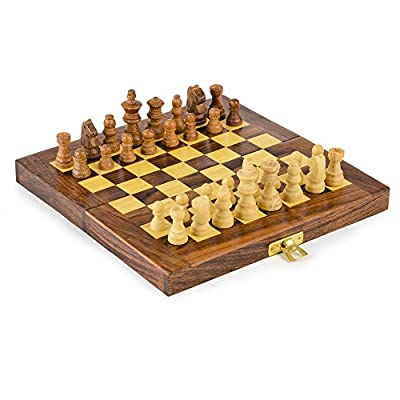 Rusticity Wood Chess Set with Folding Board and Chess Pieces | Handmade | (8x8 in)