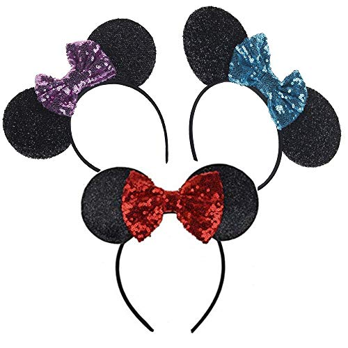 Mouse Sequin Ears Headband 3D Glitter Hair Clasp Birthday Supply Girls Kids adult Birthday Party Mom Baby Hairs Accessories Girl Headwear Party Decoration Baby Shower Halloween Set Of 3]()