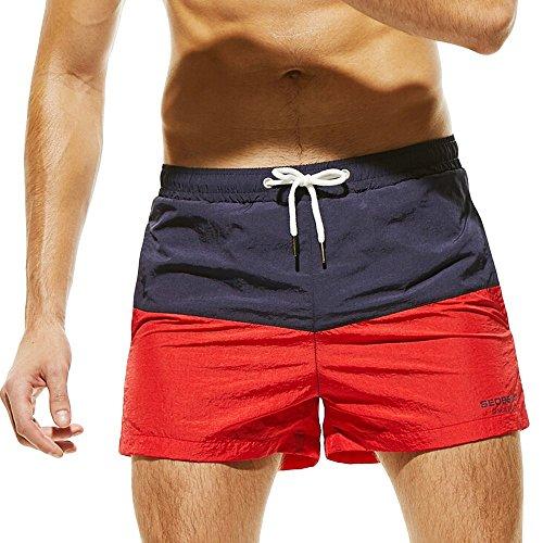 Respirant De Pantalons Homme Marine Shorts Couleur Plage Swim Brochage Ihengh Slim Wear Trunks Bain Hommes Maillots gwqBFFa0