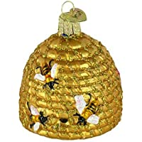 Old World Christmas Ornaments Bee Skep Glass Blown Christmas Tree (Gold)