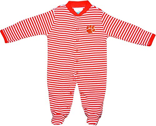 - Clemson University Tigers Striped Footed Baby Romper Orange