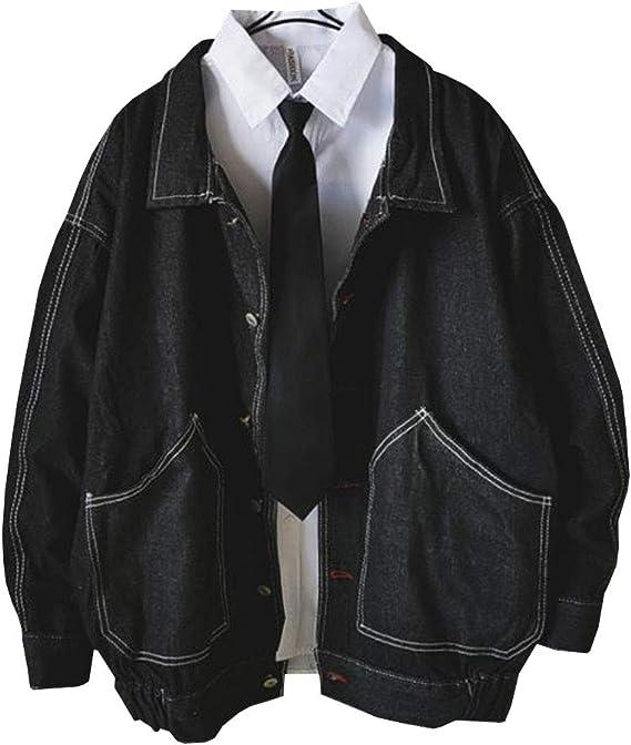 DuWei (ドゥウェイ) デニム ジャケット メンズ 長袖 スタジャン コート ゆったり 着やせ ファッション シンプル スリム かっこいい アウター アウター ジャンパー ジージャン お洒落 快適 アウトドア