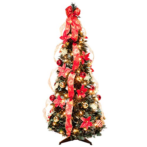 4 ft Christmas Spruce Prelit Poinsettia Pull Up - Trees Christmas White Decorated