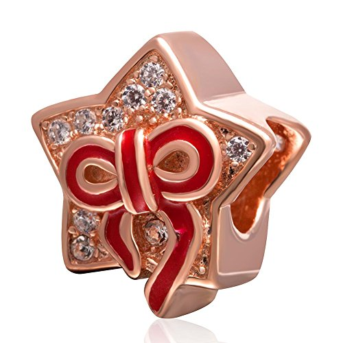 Red Bow Rose Gold Plating Star Beads Charm 100% Authentic 925 Sterling Silver Beads fit for DIY Charm Bracelet & Necklace (Pandora Bow Charm)