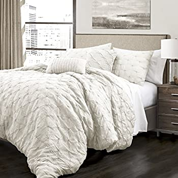 Image of 5 Piece King, French Country Glam Classic Pin Tuck Pattern Comforter Set, Traditional Unique Farmhouse Solid Color Design, Gorgeous Textured Themed, Eye-Catching Bedding, Adorable White Color