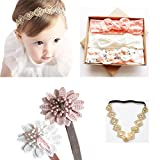 DANMY Baby Girl Super Stretchy Headband Big Lace Petals Flower Baby Hair Band Newborn Hair Accessories (Set 1 (as Shown))