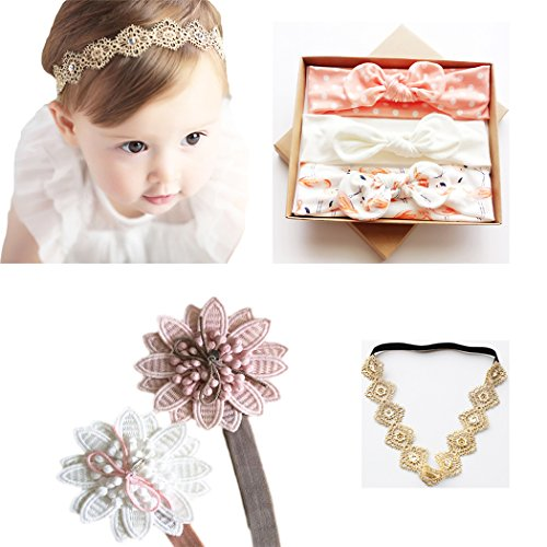 - DANMY Baby Girl Super Stretchy Headband Big Lace Petals Flower Baby Hair Band Newborn Hair Accessories (Set 1 (as Shown))