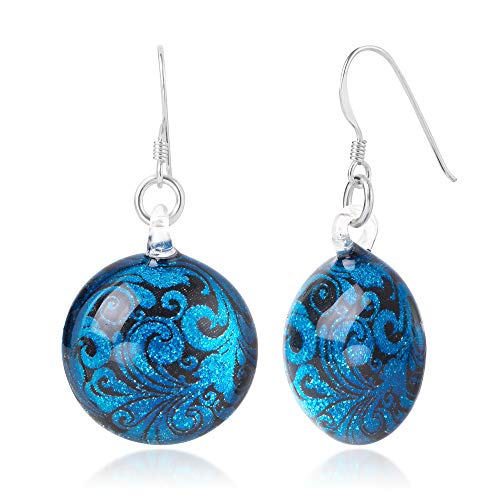 - Sterling Silver Hand Blown Glass Turquoise Blue & Black Abstract Flower Art Round Dangle Earrings
