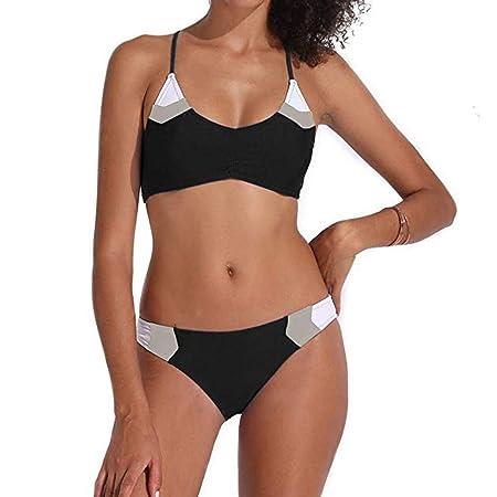 XW_H Mujer Conjunto De Bikini V-Cuello Halter Estampado Conjunto ...