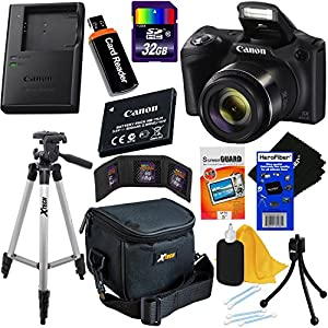 Canon Powershot SX420 IS 20 MP Wi-Fi Digital Camera with 42x Zoom (Black) Includes: Canon NB-11LH Battery & Canon Charger + 9pc 32GB Deluxe Accessory Kit w/ HeroFiber Cloth