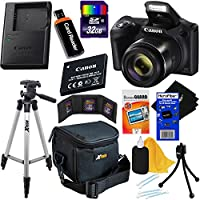 Canon Powershot SX420 IS 20 MP Wi-Fi Digital Camera with 42x Zoom (Black) Includes: Canon NB-11LH Battery & Canon Charger + 9pc 32GB Deluxe Accessory Kit w/HeroFiber Cloth