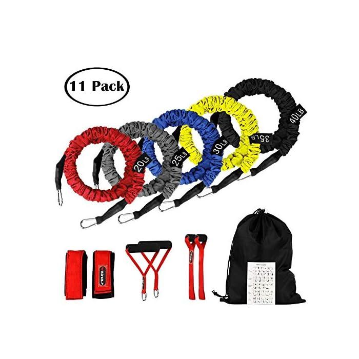 519S77FEkvL ✔✔5 Niveles de Resistencia -- Se trata de un set de bandas elásticas de resistencia, las cuerdas están fabricadas en látex natural, de 5 colores y con ganchos en los extremos de metal de alta resistencia. Cada una una tiene una intensidad diferente: Rojo (20 libras), Gris (25 libras), Azul (30 libras), Amarillo (35 libras), Negro (40 libras). ✔✔Accesorio Ideal -- Viene con 5 bandas de diferentes tensiones, 2 ancla para la puerta, 2 correas de tobillo ajustables, 2 asas o empuñaduras de espuma, 1 bolsa de color negro para su transporte o almacenamiento. Puede ser transportado fácilmente para usar en cualquier lugar y en cualquier momento. Un kit muy completo y económico. ✔✔Fácil de Usar & Más Seguro -- Se hace ejercicio seguro y cómodo. Son fáciles de manejar, pudiéndolo enganchar en cualquier puerta, armario, columna, etc. Son fantasticas para tonificar los músculos, reducir grasa, ejercicio de mantenimiento, y realizar otro tipo de ejercicios, destinado a trapecio, hombros o dorsales. Por favor click este link: https://youtu.be/Z8crojsKfJ4, este video para decirle cómo usar este conjunto de cuerdas elásticas para realizar los ejercicios. Set de cuerdas elásticas para fitness